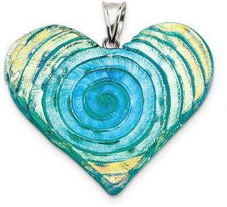 Glass Heart JOlivers Sterling Silver Yellow, Blue, Green Dichroic Pendant
