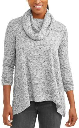 Poof! Women's Long Sleeve Cowl Neck Tunic