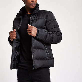 River Island Black faux fur collar puffer jacket