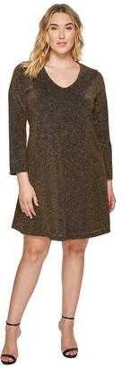Karen Kane Plus Plus Size Gold Knit Taylor Dress Women's Dress