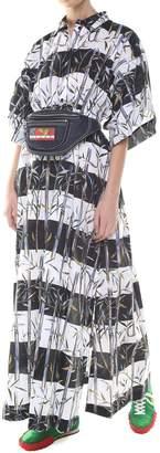 Kenzo Bamboo Stripes-print Cotton And Linen-blend Long Dress