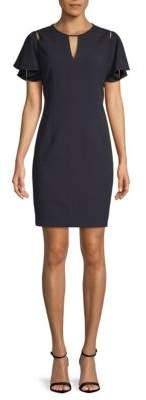 T Tahari Lovie Ruffle-Sleeve Sheath Dress