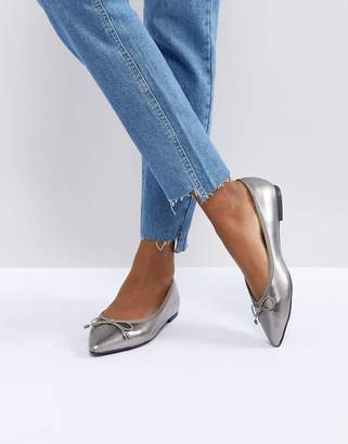 Miss KG Melia Pewter Bow Ballet Flats