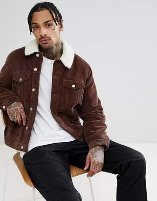 Asos Cord Western Jacket With Fleece Collar In Brown