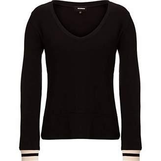Monrow Women's Dark Heather Supersoft V Neck L/S W/Elastic Cuff