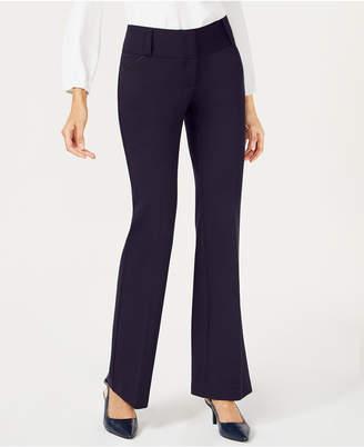 Alfani Petite Tummy-Control Faux-Leather-Trim Pants