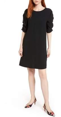 Halogen Ruched Sleeve Crepe Dress