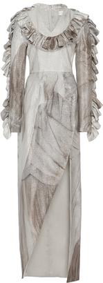 Metallic Ruffled Long Sleeve Gown