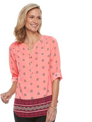 Croft & Barrow Women's Smocked Printed Top