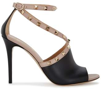Valentino Rockstud 105 Black Leather Sandals
