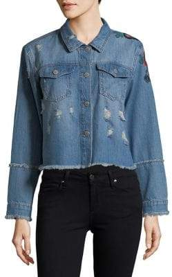 Buffalo David Bitton Embroidered Frayed-Hem Denim Jacket