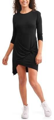 7b20342cb31 Slinky Juniors' Wrap Front Long Sleeve Jersey Knit Hi-Low Tunic Dress