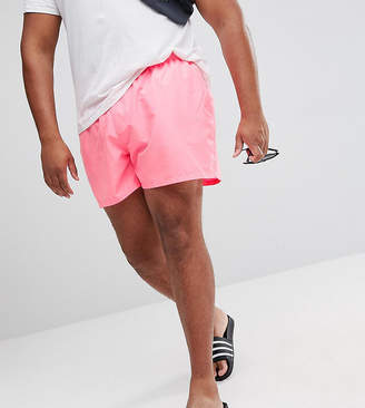 Asos PLUS Swim Shorts In Bright Pink With Stripe Drawcord Short Length