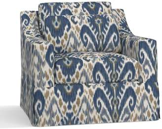 Pottery Barn York Slope Arm Deep Seat Slipcovered Armchair - Print and Pattern
