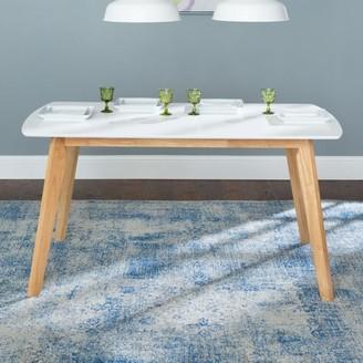"Walker Edison 60"" Mid-Century Modern Wood Dining Table, White"