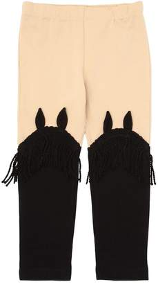 Cotton Jersey Leggings W/ Fringe