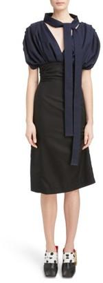 Women's Jacquemus Ruched Tie Neck Dress $595 thestylecure.com