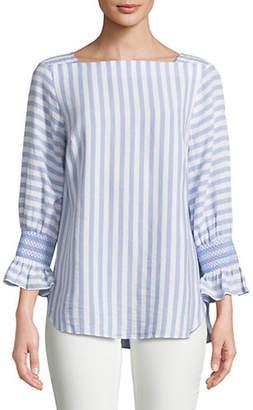 Jones New York Striped Quarter-Sleeve Top