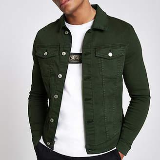 River Island Dark green muscle fit denim jacket