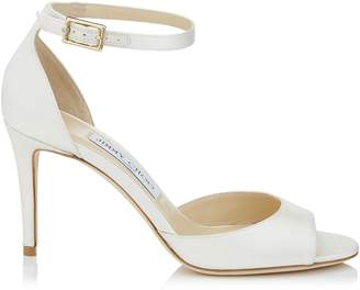 Jimmy Choo ANNIE 85 Ivory Satin Peep Toe Sandals