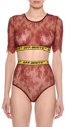 Off-White Crewneck Short-Sleeve Lace Bra-Top with Logo Band, Red