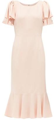 Dolce & Gabbana Fluted Hem Cady Crepe Midi Dress - Womens - Pink