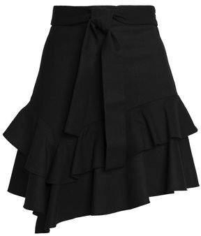 Maje Ruffled Stretch-Wool Twill Mini Skirt