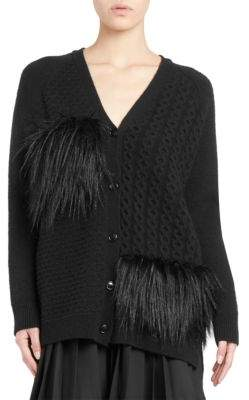 Simone Rocha Cashmere-Blend Faux-Fur Cable Knit Cardigan