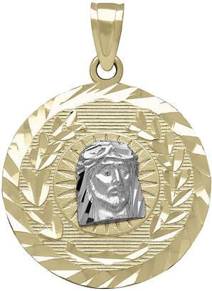 FINE JEWELRY Tesoro 14K Two-Tone Gold Diamond-Cut Christ Head Medallion Pendant