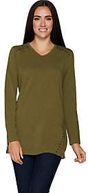 Denim & Co. Long Sleeve V-Neck Tunic Top w/Stud Detail