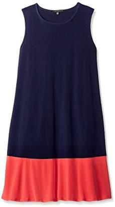 Tiana B Women's Petite Plus Sleeveless Solid Color Block Swing Dress.