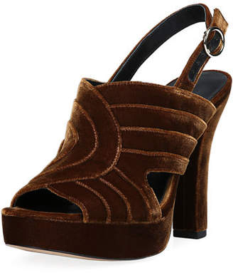 Diane von Furstenberg Tabby Layered Velvet Platform Slingback Sandals