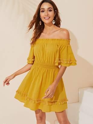 Shein Tassel Detail Elastic Waist Off Shoulder Dress