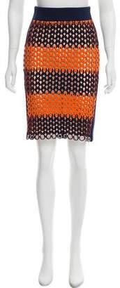 Balenciaga Laser-Cut Knee-Length Skirt w/ Tags