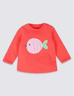 Marks and Spencer Pure Cotton Fish Applique Sweatshirt