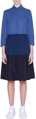 Akris Punto Colorblocked-Poplin Kent-Collar Shirtdress