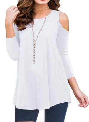 aafaaa79a57eab time Womens 3 4 Sleeve Cold Shoulder Tunic Top for Leggings Tunics Blouse  Shirt (