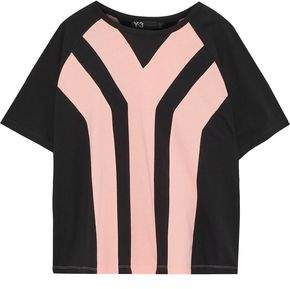 Y-3 + Adidas Two-Tone Cotton-Jersey T-Shirt