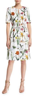 Oscar de la Renta Elbow-Sleeve Zip-Front Enchanted Forest A-Line Dress