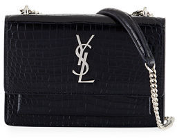 Saint Laurent Sunset Monogram Small Crocodile-Embossed Wallet on a Chain $1,550 thestylecure.com