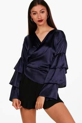 boohoo Tall Satin Tiered Sleeve Wrap Shirt