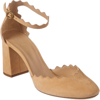 Chloé Lauren Scalloped Suede Ankle-Strap Pump