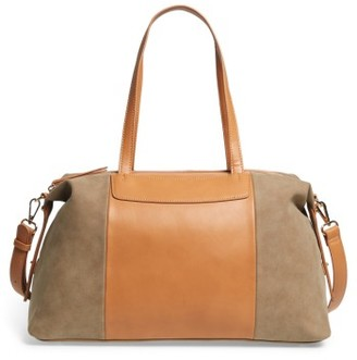 Sole Society Greyson Two-Tone Faux Leather & Faux Suede Duffel - Brown $64.95 thestylecure.com