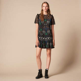Sandro Short printed dress with lace