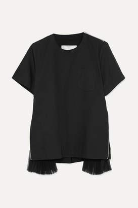 Sacai Organza-paneled Cotton-poplin T-shirt - Black