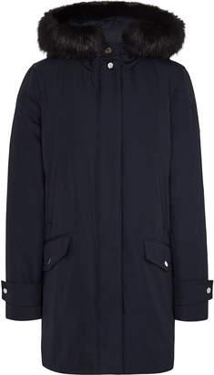 Reiss Rosie - Faux Fur Parka Coat in Navy
