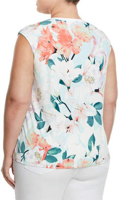 Iconic American Designer Sleeveless Tropical Floral-Print Blouse, Plus Size