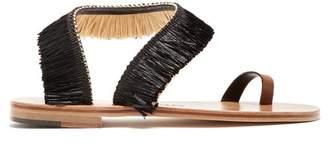 Álvaro alvaro - Angela Raffia Embellished Leather Sandals - Womens - Black Tan