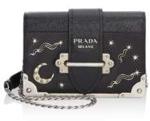 Prada Cahier Studded Saffiano& Leather Shoulder Bag
