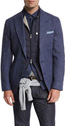 Brunello Cucinelli Deconstructed Peak-Lapel Three-Button Sport Jacket, Bright Blue